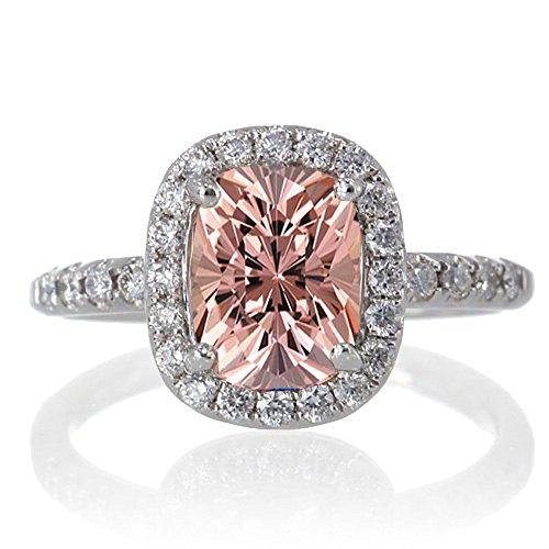 1.5 Carat Cushion Cut Morganite Antique Diamond Engagement Ring on 10k...