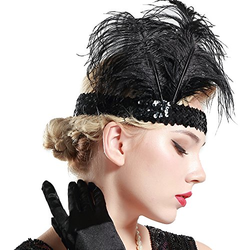 BABEYOND 1920s Flapper Headband Roaring 20s Sequined Showgirl Headpiece Great Gatsby Headband with Black Feather]()