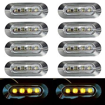 Luces LED de gálibo transparente con bisel cromado para camiones (24 V, 10 unidades), luz de color naranaja: Amazon.es: Coche y moto