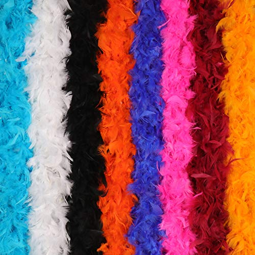 - 8 Pack Feather BOA Colorful Feather BOA for Costume Party Accessory, 8 Different Colors
