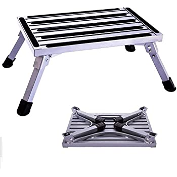 RV T Level Grip Handle Flsepamb RV Step More Stable Supports Up to 1000 lbs Aluminum Folding Platform Step,RV Step Stool with Non-Slip Rubber Feet Reflective Stripe