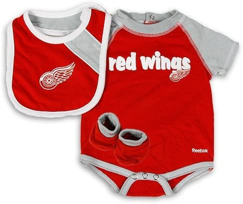 Bootie Set Detroit Red Wings Striped Creeper Infant 18 Months Bib Pink