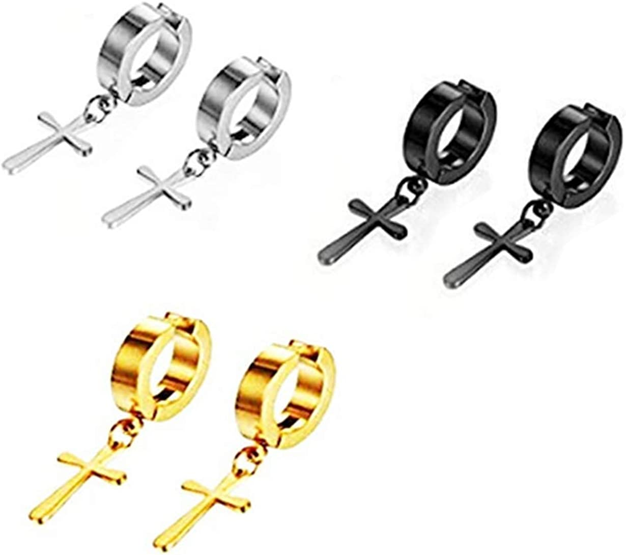 Kjiasiw Stainless Steel Ear Clip Non-piercing Clip on Earrings with Dangling Cross for Men and Women