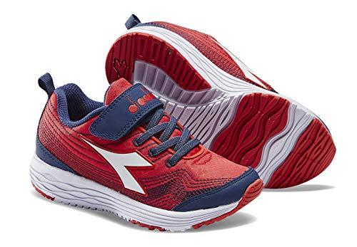 Diadora Kids' Flamingo Jr. Running Shoe Sneakers (11.5 M US Little Kid, Dark Red/Royal/White)