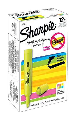 Sharpie 25053 Tank Highlighters, Chisel Tip, Assorted Colors, 12-Count by Sharpie (Image #1)
