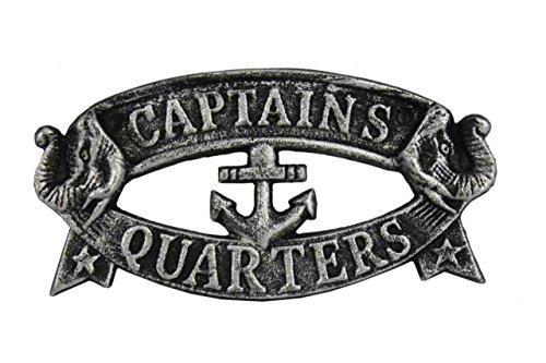 Hampton Nautical Cast Iron Decoration Captain's Quarters Sign Metal Wall Plaque, 9
