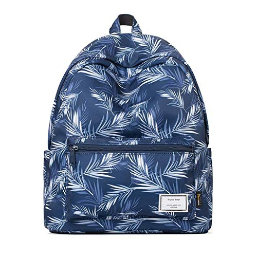 Blue Waterproof Printing College Trendy Full Women's 16cm Wind 31cm 40cm Travel Polyester Simple Dark Backpack Bag Wild qBq0wfnT