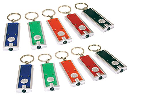 Buck Light: Powerful LED Keychain Lights, 10 Pack, Assorted Colors, Ultra Bright Flashlight, Portable Key Chain Flash Light