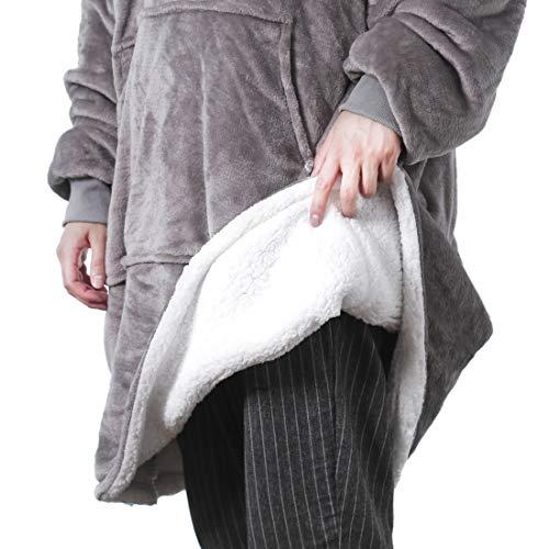REEPOW Wearable Hoodie Blanket Sweatshirt for Adults - Oversized Hooded, Large Pocket, Elastic Cuff, Reversible - Warm and Luxurious Plush Sherpa & Fleece Hoody - Grey