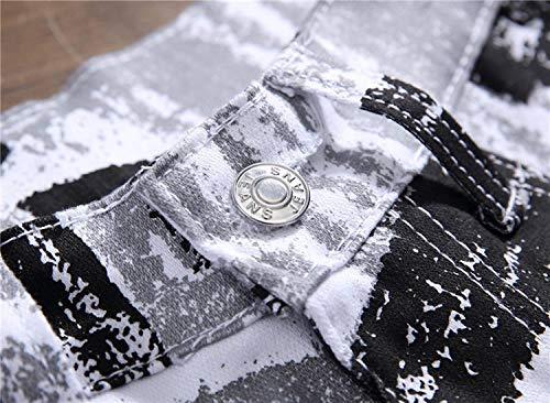Vita Pantaloni In Retrò Da Bomb Di A Casual Bianca Denim Moda Stampa Stretti Skinny Uomo Media Jeans Micro qwZXErdxw