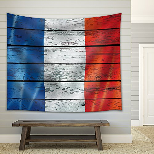 France's Flag on a Wooden Background