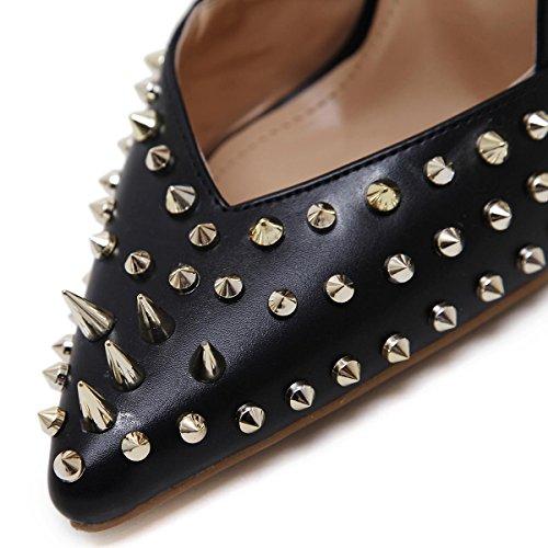L@YC Women'S High Heels Rivets Fall Shallow Mouth Comfortable Dress Wedding Shoes Black gif7oPrVLK