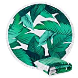 Great Bay Home Round Beach Towel with Palm Trees. 60'' Round. 100% Zero Twist Cotton. Multi-Purpose, Durable, Absorbent Towels for Bathroom, Pool, or Beach. By (Palm Trees)