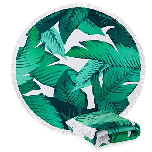 Great Bay Home Round Beach Towel with Palm Trees. 60