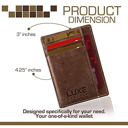 Luxe Leather Front Pocket Slim Minimalist RFID Blocking Wallet for Men & Women (LX004),Brown Hunter