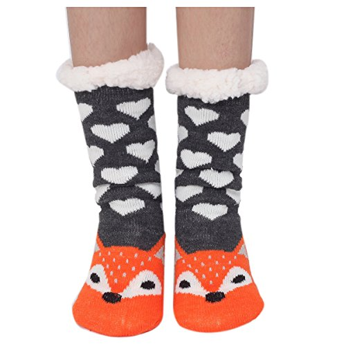 Marlong Womens Warm Soft Cute Cartoon Animals fuzzy Cozy Non-Slip Winter Indoor Slipper Socks, 02 Fox, One Size (Sock Double Sole)