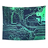 Wall Tapestries 80 x 60 Inches Circuit Board Electronic Computer Hardware Technology Motherboard Digital Chip Tech Science Integrated Home Decor Wall Hanging Tapestries Living Room Bedroom Dorm