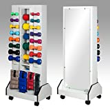 25.5'' x 18'' x 65'' White Celestial DualRac Mobile Weight Rack - with Mirror - CL-5121M