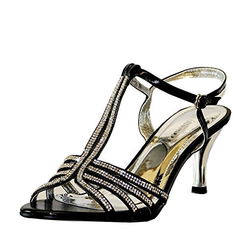 Rock on Styles Ladies Gold Silver Black Party Prom Diamante Ankle Straps Low Kitten Heel Shoes Sandals 30-105 Black iMzLom