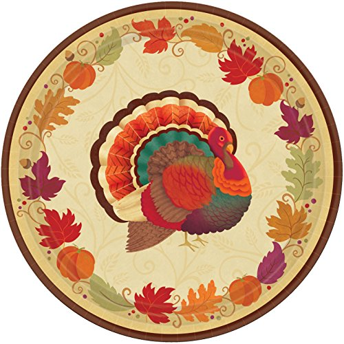 Dinner Turkey 10.5 - amscan Turkey Holiday Thanksgiving Round Dinner Paper Plates Party Tableware, 10