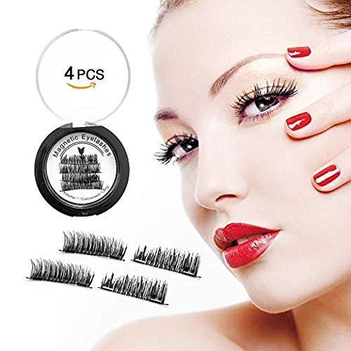 Upgraded New Magnetic Eyelashes, Laprado Dual Magnetic Eyelashes, Glue-Free 3D Reusable Full Size Eyelashes, 0.2mm Ultra Light Weight Eyelashes with Natural Look & Premium Quality, Best for 2019