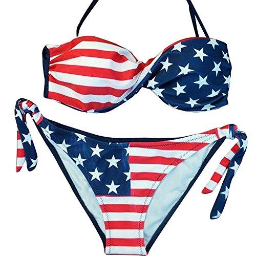 (【MOHOLL】 Women's Tie Side Bottom Triangle Bikini Swimsuits Blue)