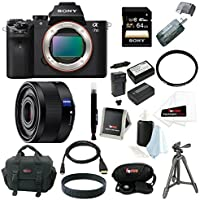 Sony Alpha a7II ILCE-7M2/B Interchangeable Digital Lens Camera (Body Only) and Sony SEL35F28Z Sonnar T FE 35mm F2.8 ZA Full-frame Prime Lens with Sony 64GB SDXC Card + Sony Tripod + 2 Replacement NP-FW50 Batteries and Charger + Focus Deluxe Accessory Bundle