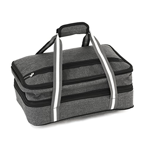 Insulated Expandable Double Casserole Carrier and Lasagna Holder for Picnic Potluck Beach Day Trip Camping Hiking - Hot and Cold Thermal Bag in Gray - Tote can hold 11 x 15 or 9 x 13 baking dish
