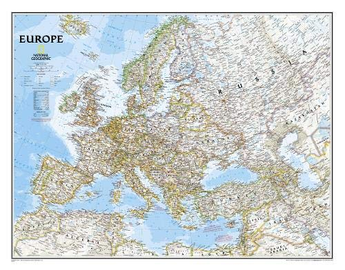 National Geographic: Europe Classic Enlarged Wall Map - Laminated (46 x 35.75 inches) (National Geographic Reference Map)