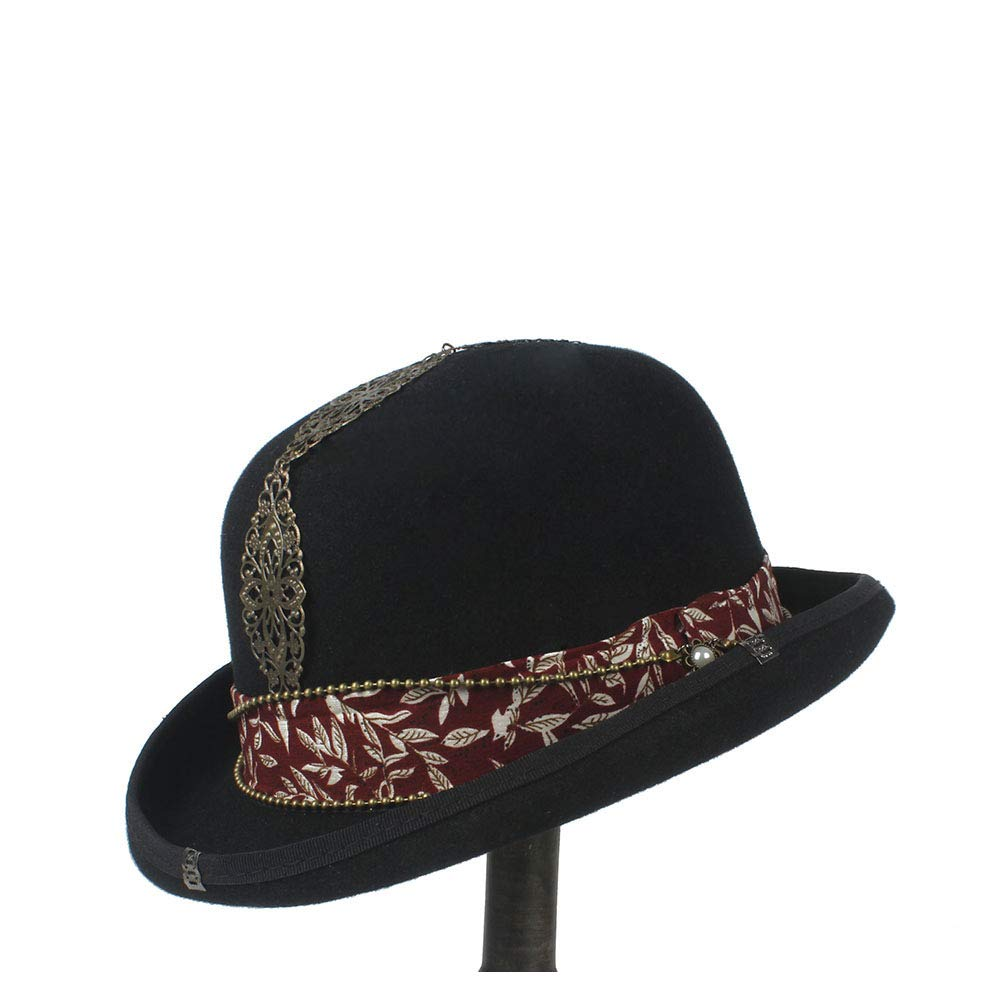 LL Women's Vintage Steampunk Red Plus Metal Decoration with Black Top Hat Universal Couple Brown Fedora Party Hat Headgear (Color : Black, Size : 57cm)
