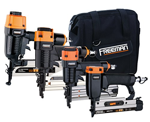 Freeman Pneumatics P4FNCB Nailer Combo Kit Nailer Ergonomic & Lightweight Pneumatic Nail Gun Set with Finish Nailer, Narrow Crown Stapler, Brad Nailer, Pin Nailer