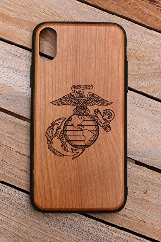 (CHX) United States Marine Corp Custom Engraved On A Cherry Wood Phone Case With Flexible TPU Sides For IPhone X (CHX-USMC)