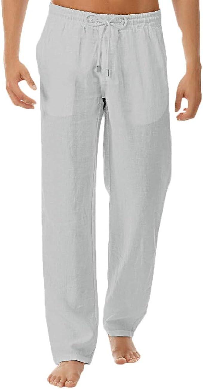 Amazon.com: Pantalones de lino para hombre, casual, holgados ...