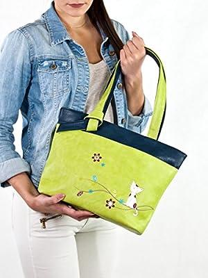 ESPE Stare Pretty Kitty Two Tone Vegan Faux Leather Tote Handbag
