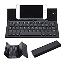 Hoidokly Wireless Bluetooth Keyboard with Cell Phone Stand (Rechargeable, Foldable,Ultra-Slim)