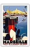 Marseille, France - Porte de L'Afriqe du Nord (Gateway to North Africa) Paris-Lyon-Mediterrannée - Vintage Railroad Travel Poster by Roger Broders c.1930s - Master Art Print - 12in x 18in