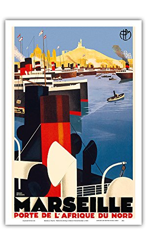 France Porte - Marseille, France - Porte de L'Afriqe du Nord (Gateway to North Africa) Paris-Lyon-Mediterrannée - Vintage Railroad Travel Poster by Roger Broders c.1930s - Master Art Print - 12in x 18in