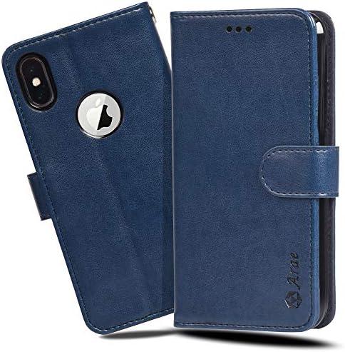 iPhone xs ケース 手帳型 Qi充電対応 スマホケース iPhone x 横置き機能 カードポケット付き Arae アイフォンxs/x 対応用 財布型 カバー (ネイビー)