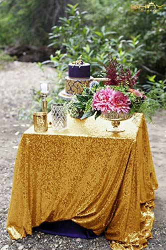 48x48-Inch Square-Sequin Tablecloth-Gold, 2017 New Arrival Sequin Table