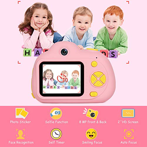 "Kids Camera Gifts for Girls 1080P HD,Mini Rechargeable Children Shockproof Digital Front and Rear Selfie Camera Child Camcorder for 3-9 Year Old Kids Gifts waterproof 2.0"" LCD Screen (Pink) by LeaderPro (Image #3)"