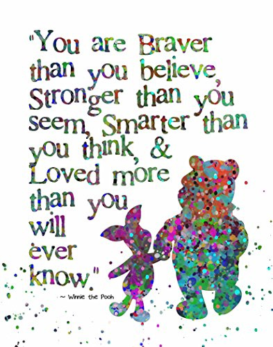 - ArtDash® Pop Art Print: Watercolor Splatter Pooh & Piglet Abstract, Braver than You Believe' (8