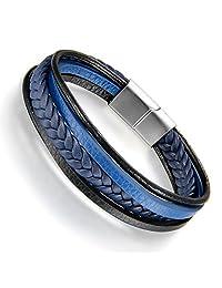 Flongo Men's Womens Stainless Steel Retro Woven Leather Wrap Bangle Bracelet, 8.5 inch