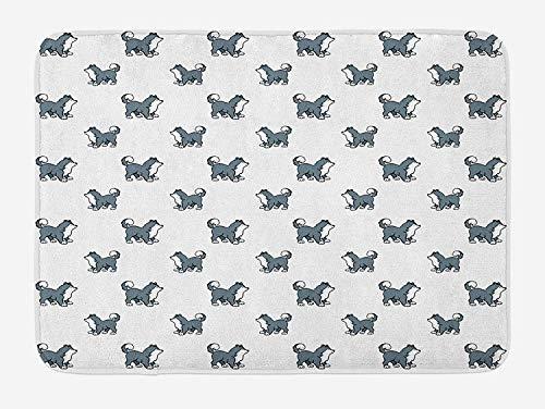 Weeosazg Dog Bath Mat, Husky Puppy Siberian Energetic Pet Alaskan Origin Sketch Style Cartoon Cold, Plush Bathroom Decor Mat with Non Slip Backing, 23.6 W X 15.7W Inches, Blue Grey Black White