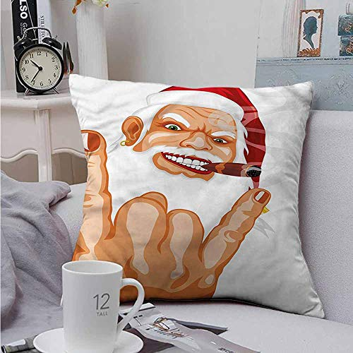 Fbdace Velvet Throw Pillowcase Christmas Rocker Santa Claus Super Soft and Luxury, Hidden Zipper Design 14 X 14 Inch ()