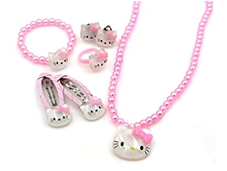 48bae02a4 Amazon.com: Aim And Achieve Hello Kitty 7 Piece Hair & Jewelry Set -  Necklace - Earrings - Bracelet - Pink - Little Girls - HK1: Sports &  Outdoors