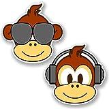 2 x Monkey Vinyl Sticker iPad Laptop Car Bike Helmet Kids Decal Skateboard #4767 (10cm x 10cm)