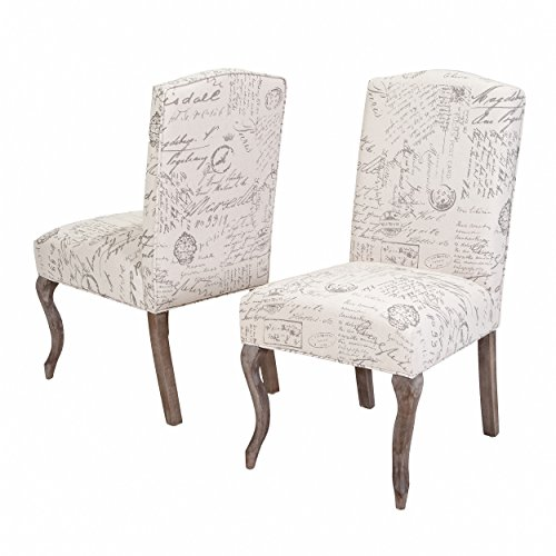 Best Selling Carson Crown Top French Script Beige Fabric Dining Chair, Off-White, Set of 2