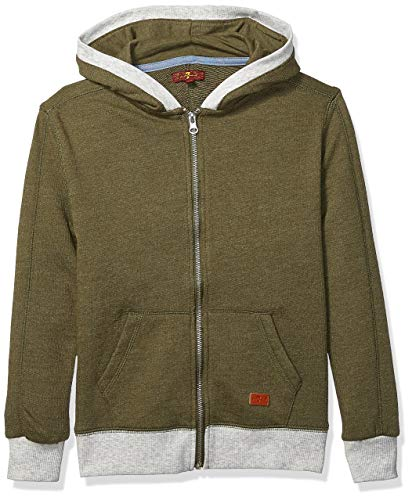 (7 For All Mankind Kids Boys' Big Zip Front Thermal Hoodie Jacket, Olive S )