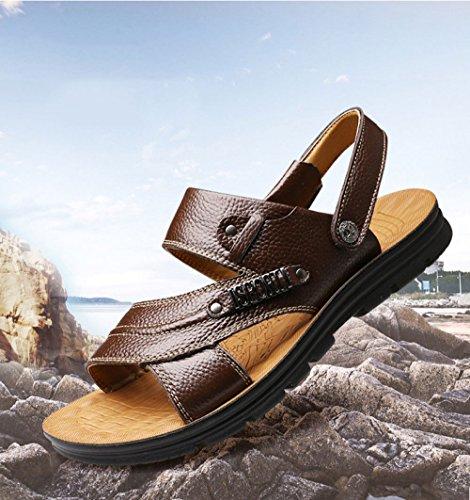 Uomo Sandali da Scarpe Scarpe Casual da Spiaggia Aperte Selvagge Brown Moda da Uomo wrIrP