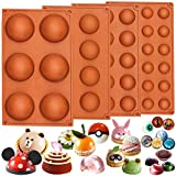 Funshowcase Half Circle Silicone Mold Bombe Teacake Baking Pan Assorted Size 4 in Set
